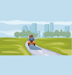 Road way to city buildings on horizon vector