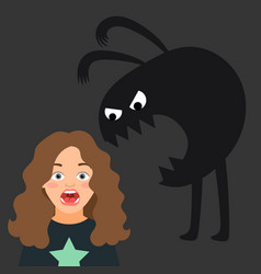 Scared girl kids fear and monster silhouette vector