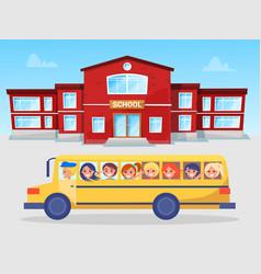 school bus and pupils schoolboy and schoolgirl vector image