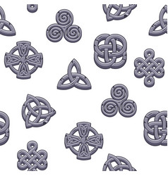 Seamless pattern celtic symbols cartoon set vector