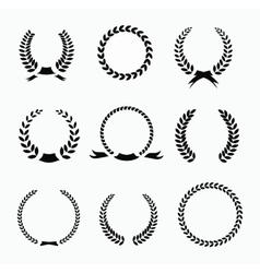 set black and white silhouette circular laurel vector image