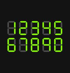 set digital led numbers vector image