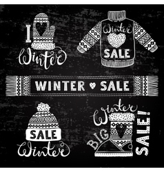 Set drawings knitted woolen clothing and footwear vector