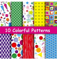 Set of 10 Colorful geometric seamless patterns vector image