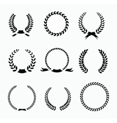 Set of black and white silhouette circular laurel vector