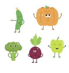 set of funny characters from vegetables 2 vector image