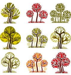Set of stylized trees with green and orange leaves vector