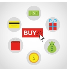 shopping online ecommerce flat icons vector image
