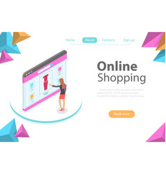 shopping online flat isometric conceptual vector image