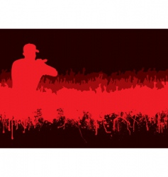 Silhouette rock concert crowd vector