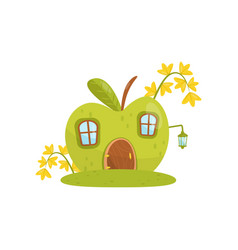 small house made from green apple fairytale vector image
