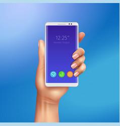 smart phone hand realistic vector image
