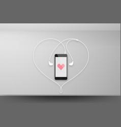 smartphone black color design mock up heart pixel vector image