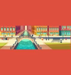 street cafes on city embankment cartoon vector image