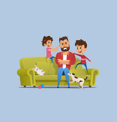 Stressed annoyed father naughty children on sofa vector