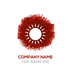 sun icon - red watercolor circle splash vector image