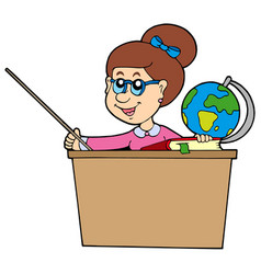 Teacher behind the desk vector