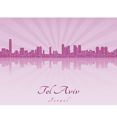 Tel Aviv skyline in purple radiant orchid vector