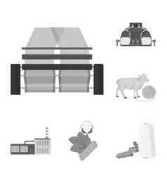 Textile industry monochrome icons in set vector
