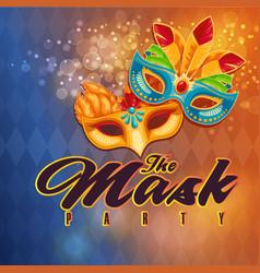 the mask party mask orange background image vector image