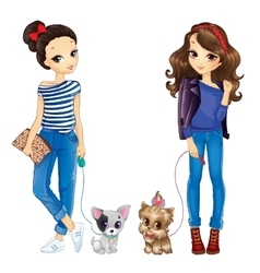 Two Cute Girls Walking With Dogs vector