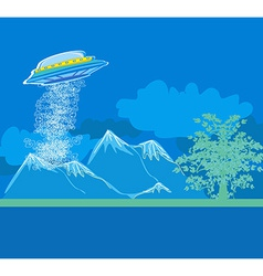 UFO hovering over a landscape vector