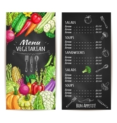 Vegetarian restaurant menu chalkboard with veggies vector image