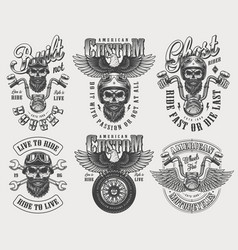 Vintage biker and motorcyclist logos set vector