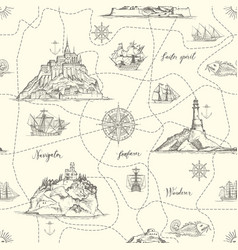 vintage seamless pattern on theme travel vector image