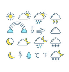 weather forecast icon collection sun crescent vector image