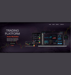web site screen template forex market news vector image