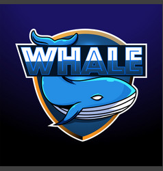 Whale esport mascot logo design vector
