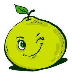 Winking pomelo on white background vector