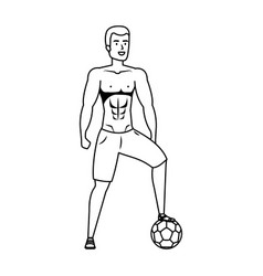 young athletic black man playing soccer vector image