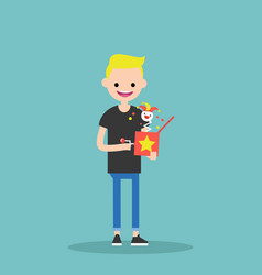 Young character holding a jack in the box flat vector