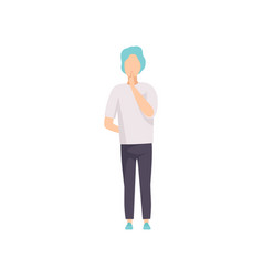 young man showing silence sign do not speak be vector image
