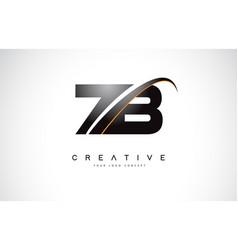 Zb z b swoosh letter logo design with modern vector