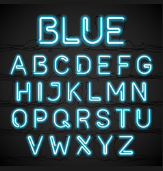 blue neon light alphabet with cable vector image vector image