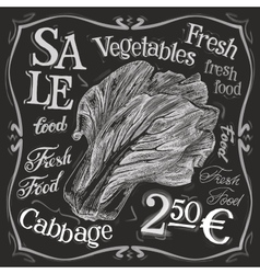 cabbage logo design template fresh food vector image vector image