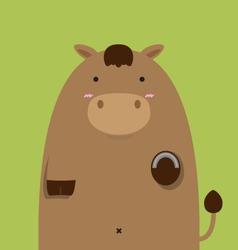 cute fat big brown horse vector image