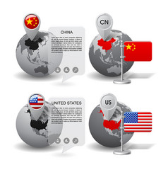 globes with map marker and state flags of china vector image vector image