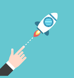hand launching space rocket vector image vector image