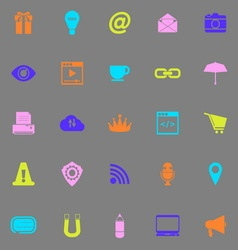 Internet website color icons on grey background vector image