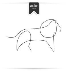 one line lion design silhouette vector image