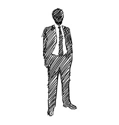 silhouette businessman with black lines vector image