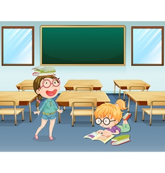 Student inside the classroom vector image vector image
