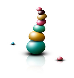 zen stones heap pebbles pile isolated on white vector image