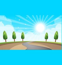 cartoon landscape road sun tree vector image vector image