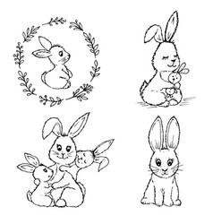 doodle small rabbits vector image