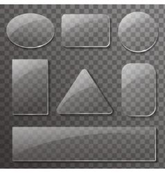 Glass transparent plates set rectangular vector image vector image